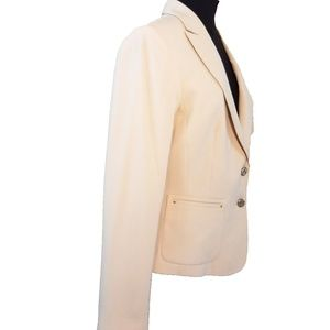 Anne Klein Tan Jacket/Blazer W/Lion Logo Buttons